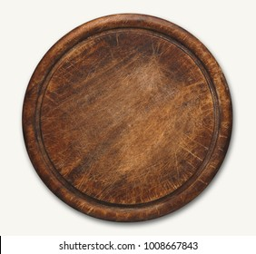 Old round wooden cutting board isolated on white background. Closeup of textured rustic platter for cutting pizza, bread or meals serving, top view