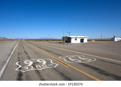 Old route 66 near the city Amboy at summer