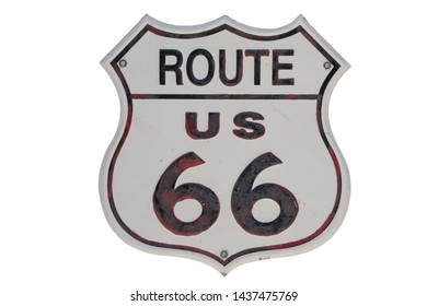 Old Route 66 sign isolated on white background. Vintage and historic image.