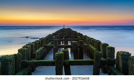 Old row of wooden piles breakwater in sea. Green algae and soft wave. Beautiful seascape.