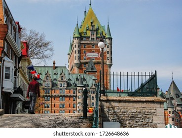 Old royal architecture, we find ourselves in the 17th century, it was renovated while keeping its ancient cachet. It is a section of the Frontenac castle. Quebec, Quebec, Canada; May 1, 2010.
