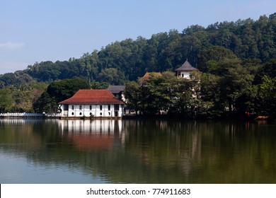 Old royal bath house at Kandy Lake, next to the temple of the Sacred Tooth Relic in Kandy, Sri Lanka