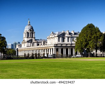 Old Royal Naval College, Greenwich, London; Canary Wharf and Financial District in background
