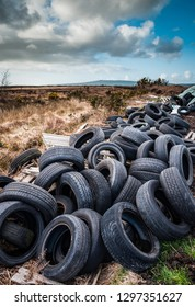 Old rubber tires dumped and polluting nature