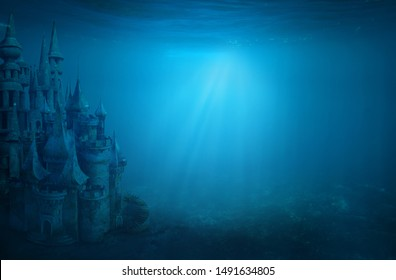 Old ruin castle under the sea. Atlantis theme concept.
