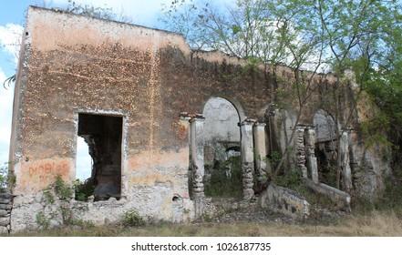 Old ruin of a hacienda in Yucatan, Mexico