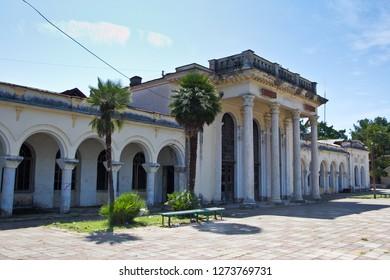 Old ruined abandoned railway station in Gudauta, Abkhazia