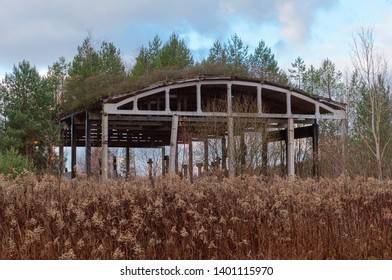 old ruined hangar, abandoned hangar in the forest