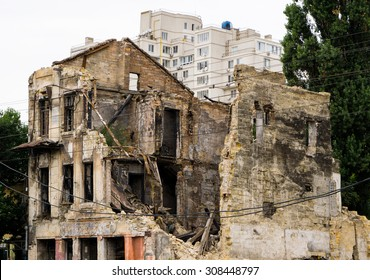 Old ruined house in city after bombing