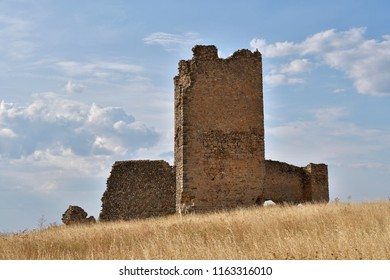 Old ruined medieval castle in the spanish field