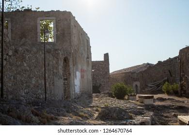 old ruined Mediterranean village of himara. inside the castle walls the ruined city dates back a millennium ago. himara vlora albania