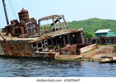 The old ruined ship. Bukhta Vityaz'. Primorye. Russia.