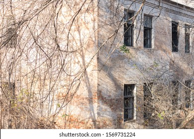 Old ruined windowless house abandoned and overgrown with grass falling apart