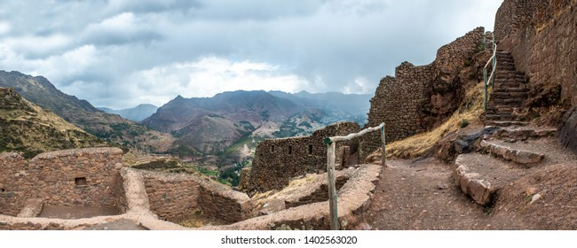 Old ruins of ancient abandoned citadel of Inkas on the mountain, Pisac, Peru, panorama