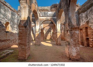 Old Ruins and Arches of Chellah or Sala Colonia is a medieval fortified necropolis located in Rabat capital city, Morocco. D'Abu Al-Hassan mausoleum. Park full of old ruins and history. Unesco site