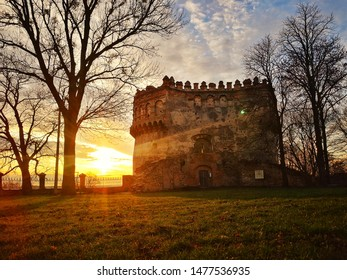 Old ruins castle sunset, history and ancient culture, tower from stone