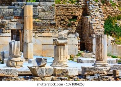 Old ruins of Ephesus or Efes famous site near Kusadasi, Turkey