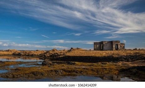 Old ruins of a house near the sea at Reykjanes peninsula in Iceland.