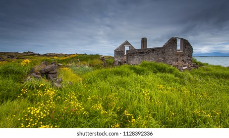 Old ruins of a house at Reykjanes peninsula in Iceland.