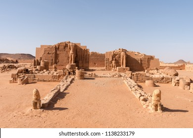 Old ruins of Naga city in Sudan, sahara desert in northern africa. Nubian kingdom history