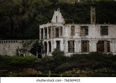 Old ruins on Alcatraz. Rock Island.