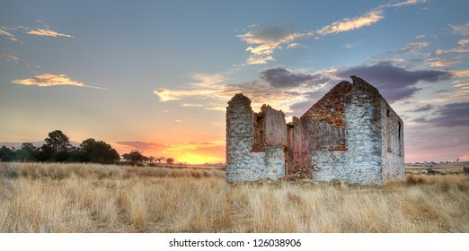 Old ruins of St Mary's at sunset