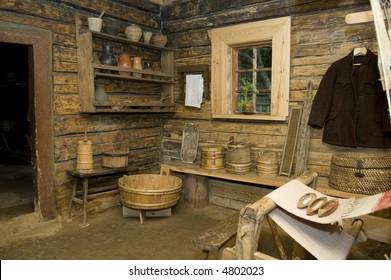 old rural interior, begining of twentieth century, Belarus.
