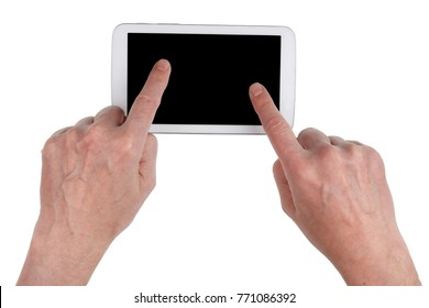 Old rural village grandfather trying to use the touchscreen of a modern tablet to view vintage photos. Isolated on white top view studio concept