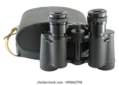 Old russian binoculars with box of leather isolated on white background.