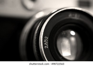 Old russian photo camera objective close up with low depth of field