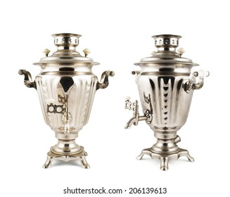 Old russian samovar metal water boiler isolated over white background, set of two foreshortenings