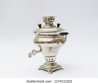 Old russian silver samovar isolated