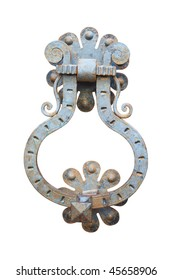Old rust door knocker. Isolated on white, with clipping path.