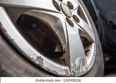 Old rusted aluminium car disc