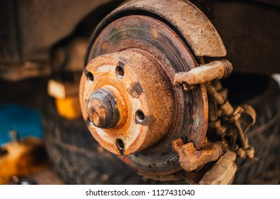 old rusted brake drum on an old car. It's time to repair