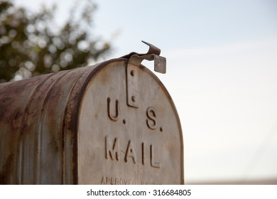 Old rusted country mailbox