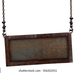 Old rusted iron sign hanging on a white background.