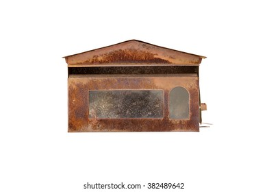Old rusted mailbox, isolated on white background