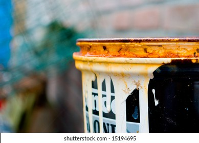 Old rusted paint can