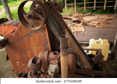 Old and rusted rice mill machinery in rice mill