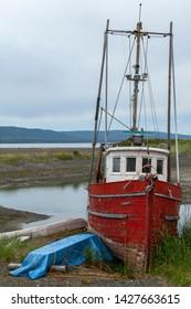 Old rusted ships at  junk yard, Alaska, USA