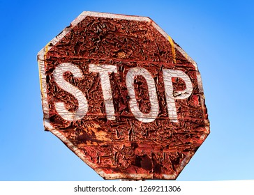 Old rusted Stop sign, rural South Africa, blue, sky, rusted and peeling