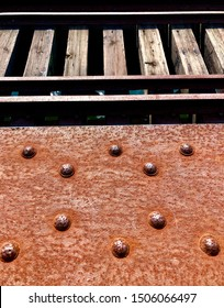 Old rusted train trestle and tracks