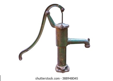 Old rusted water pump isolated on a white background. Rusty water pump