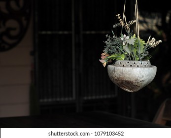 old rustic abandoned decorative hanging hand crafted vase made of coconut shell drilled and caved under natural sunlight outdoor with synthetic flowers and green plant blur background