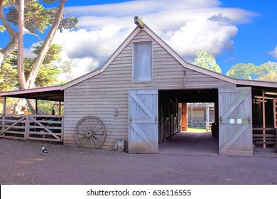 Old and Rustic Australian Barn with doors open