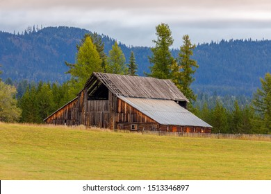 old rustic barn in the Flathead Valley, northwest Montana in early fall