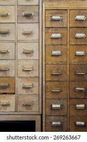 Old rustic cabinets with small compartments