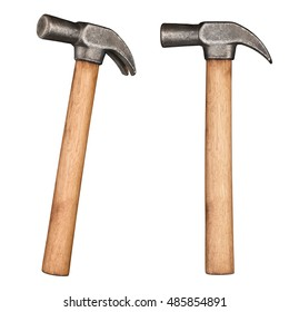 Old rustic claw hammer with wooden handle.