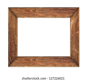 Old rustic picture frame. Wood picture frame over a white background